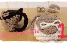 How to crochet a miniature rucksack (1/2) ミニチュア リュックの編み方 by meetang