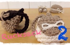 How to crochet a miniature rucksack (2/2) ミニチュア リュックの編み方 by meetang